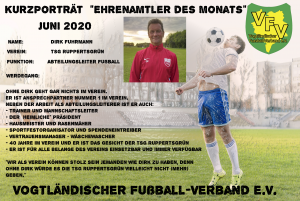 Ehrenamtler des Monats Juni: Dirk Fuhrmann TSG Ruppertsgrün