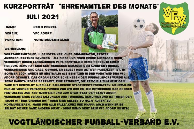 Read more about the article Ehrenamtler des Monats Juli: Remo Penzel, VFC Adorf