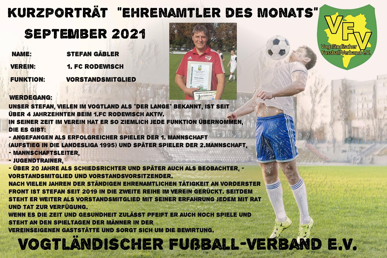 Read more about the article Ehrenamtler des Monats September: Stefan Gäbler 1.FC Rodewisch